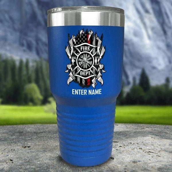Personalized Firefighter Ripped Color Printed Tumblers Tumbler Nocturnal Coatings 30oz Tumbler Blue