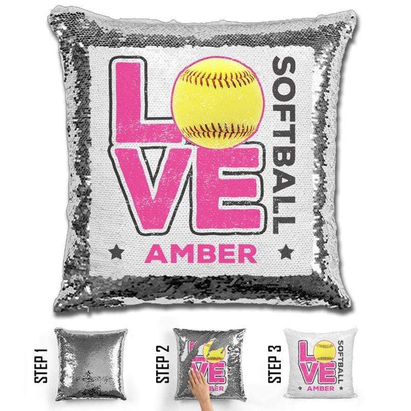 Personalized LOVE Softball Magic Sequin Pillow Pillow GLAM Silver Pink