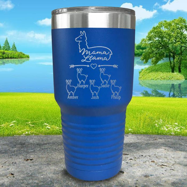 Mama Llama (CUSTOM) With Child's Name Engraved Tumblers Tumbler ZLAZER 30oz Tumbler Blue