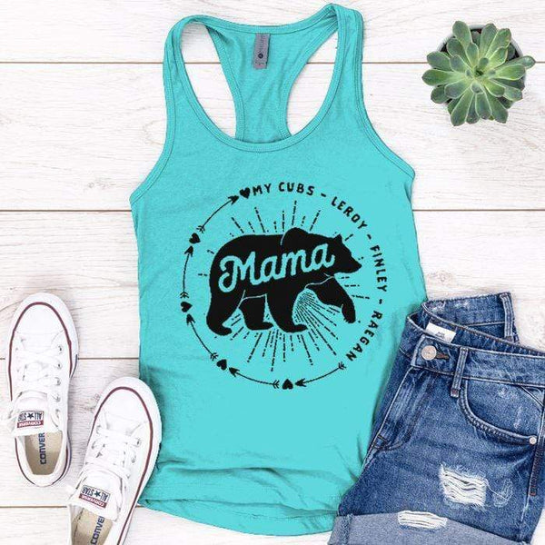 PERSONALIZED Mama Bear Premium Tank Tops Apparel Edge Tahiti Blue S