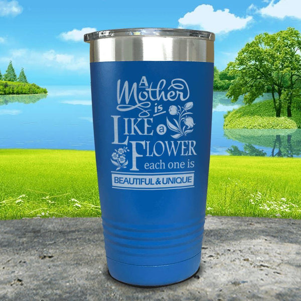 A Mother Is Like A Flower Engraved Tumbler Tumbler ZLAZER 20oz Tumbler Blue