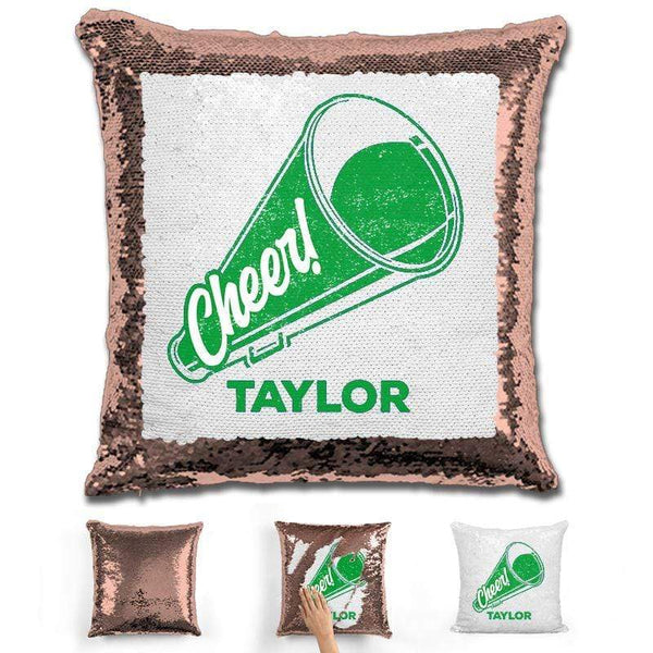Cheerleader Personalized Magic Sequin Pillow Pillow GLAM Rose Gold Green