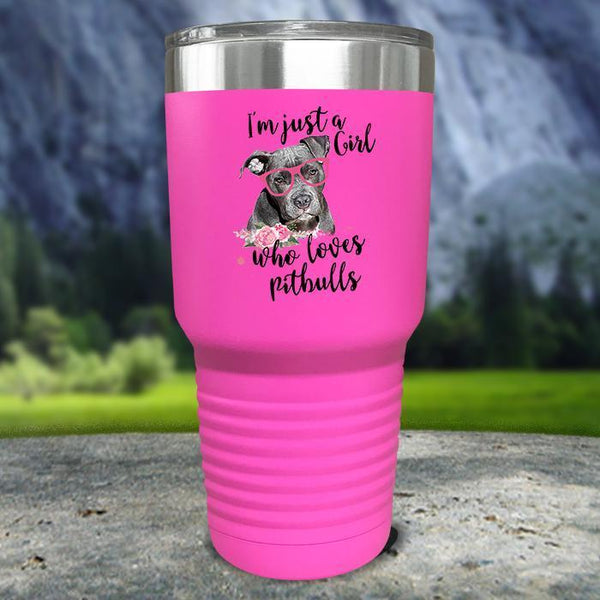 Just A Girl Who Loves PitBulls Color Printed Tumblers Tumbler Nocturnal Coatings 30oz Tumbler Pink