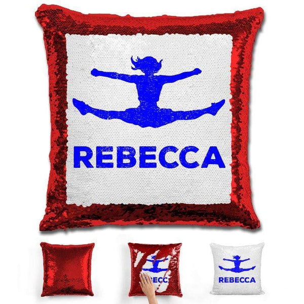 Competitive Cheerleader Personalized Magic Sequin Pillow Pillow GLAM Red Dark Blue