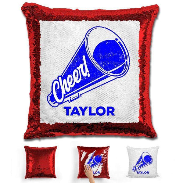 Cheerleader Personalized Magic Sequin Pillow Pillow GLAM Red Dark Blue