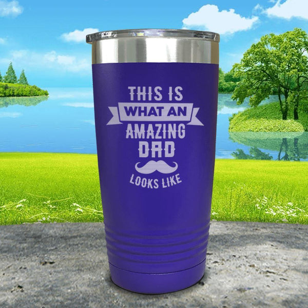 This Is What An Amazing Dad Looks Like Engraved Tumbler Tumbler ZLAZER 20oz Tumbler Royal Purple