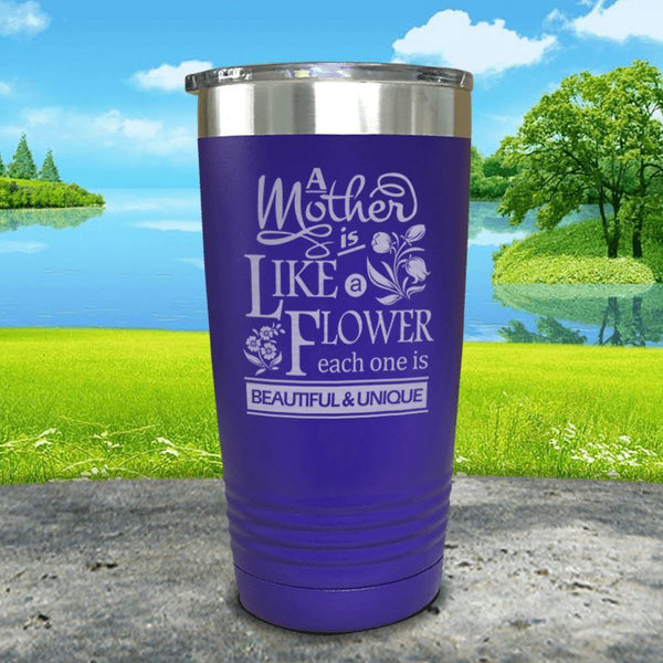 A Mother Is Like A Flower Engraved Tumbler Tumbler ZLAZER 20oz Tumbler Royal Purple