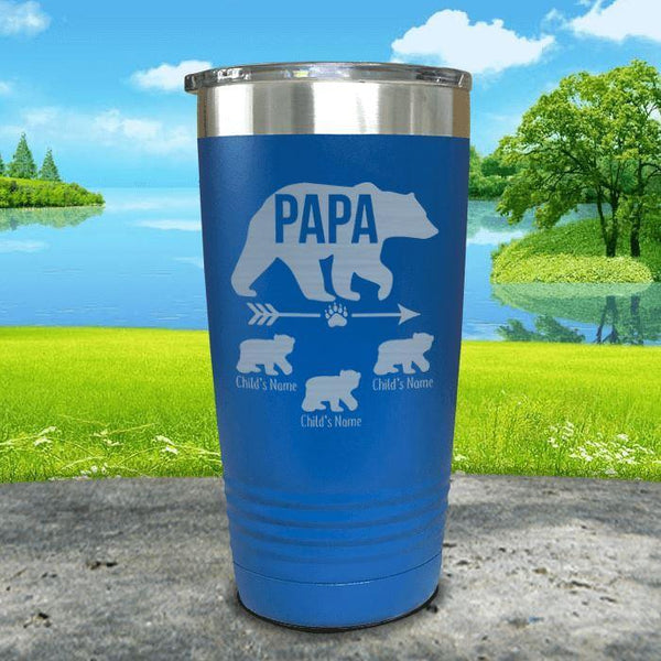 Papa Bear (CUSTOM) With Child's Name Engraved Tumblers Tumbler ZLAZER 20oz Tumbler Blue