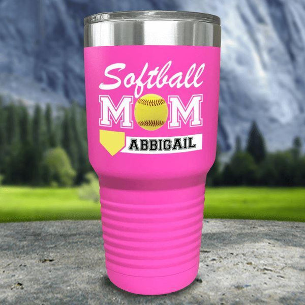Personalized Softball Mom Color Printed Tumblers Tumbler Nocturnal Coatings 30oz Tumbler Pink