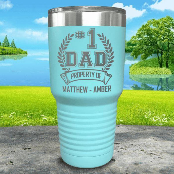 CUSTOM #1 Dad Engraved Tumblers Tumbler ZLAZER 30oz Tumbler Mint