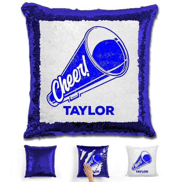 Cheerleader Personalized Magic Sequin Pillow Pillow GLAM Blue Dark Blue