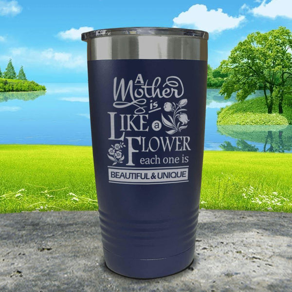 A Mother Is Like A Flower Engraved Tumbler Tumbler ZLAZER 20oz Tumbler Navy