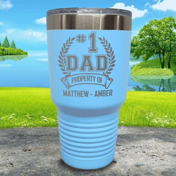 CUSTOM #1 Dad Engraved Tumblers Tumbler ZLAZER 30oz Tumbler Light Blue