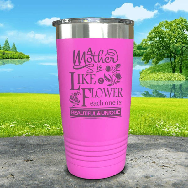 A Mother Is Like A Flower Engraved Tumbler Tumbler ZLAZER 20oz Tumbler Pink