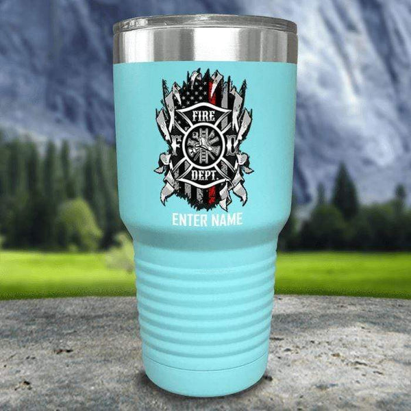 Personalized Firefighter Ripped Color Printed Tumblers Tumbler Nocturnal Coatings 30oz Tumbler Mint