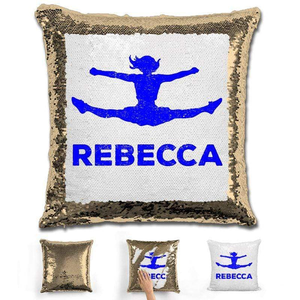 Competitive Cheerleader Personalized Magic Sequin Pillow Pillow GLAM Gold Dark Blue