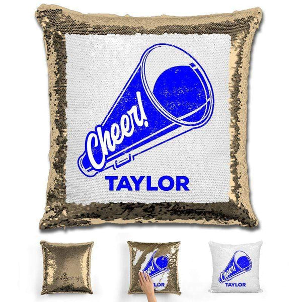 Cheerleader Personalized Magic Sequin Pillow Pillow GLAM Gold Dark Blue
