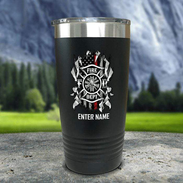Personalized Firefighter Ripped Color Printed Tumblers Tumbler Nocturnal Coatings 20oz Tumbler Black