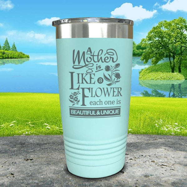 A Mother Is Like A Flower Engraved Tumbler Tumbler ZLAZER 20oz Tumbler Mint