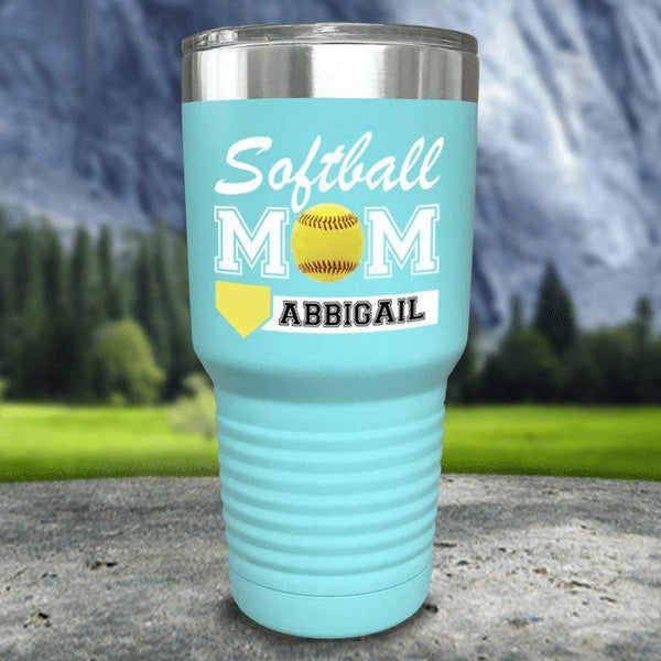 Personalized Softball Mom Color Printed Tumblers Tumbler Nocturnal Coatings 30oz Tumbler Mint
