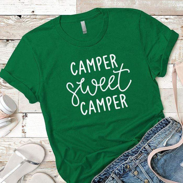 Camper Sweet Camper 1 Premium Tees T-Shirts CustomCat Kelly Green X-Small