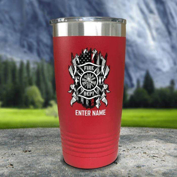 Personalized Firefighter Ripped Color Printed Tumblers Tumbler Nocturnal Coatings 20oz Tumbler Red