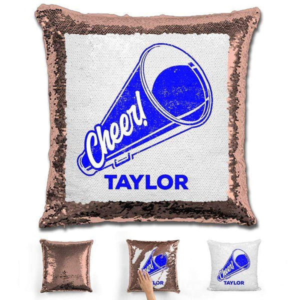 Cheerleader Personalized Magic Sequin Pillow Pillow GLAM Rose Gold Dark Blue