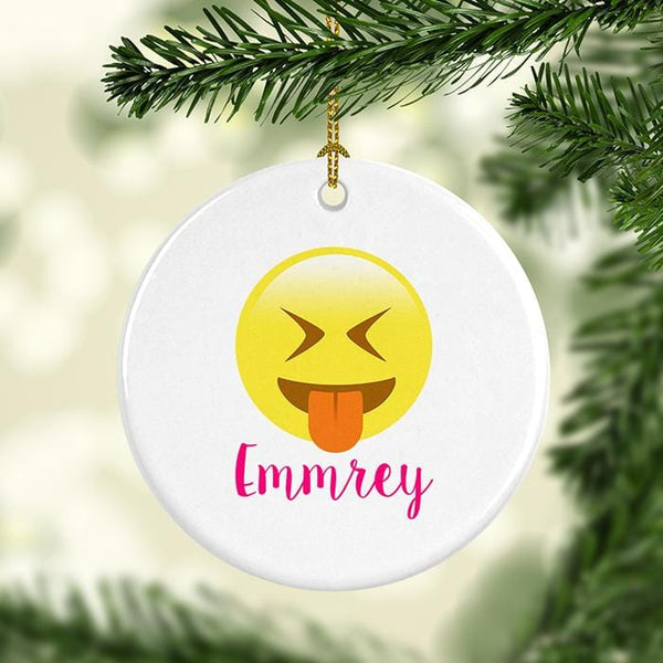 Emoji Tongue Out Personalized Ceramic Ornaments