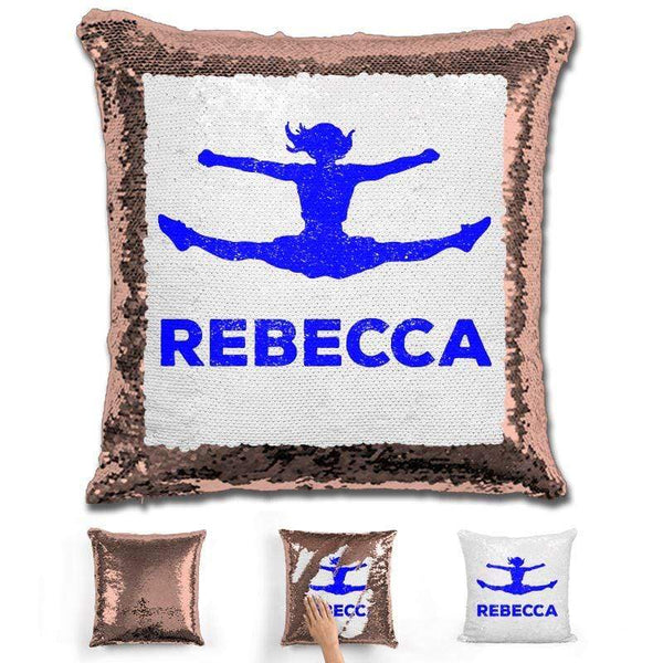Competitive Cheerleader Personalized Magic Sequin Pillow Pillow GLAM Rose Gold Dark Blue