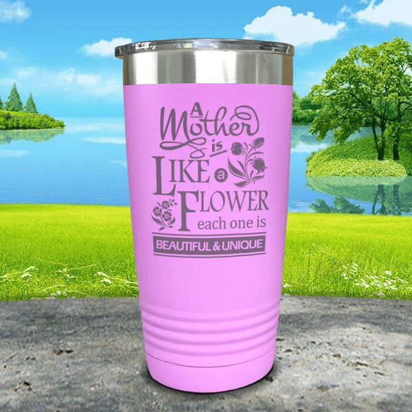A Mother Is Like A Flower Engraved Tumbler Tumbler ZLAZER 20oz Tumbler Lavender