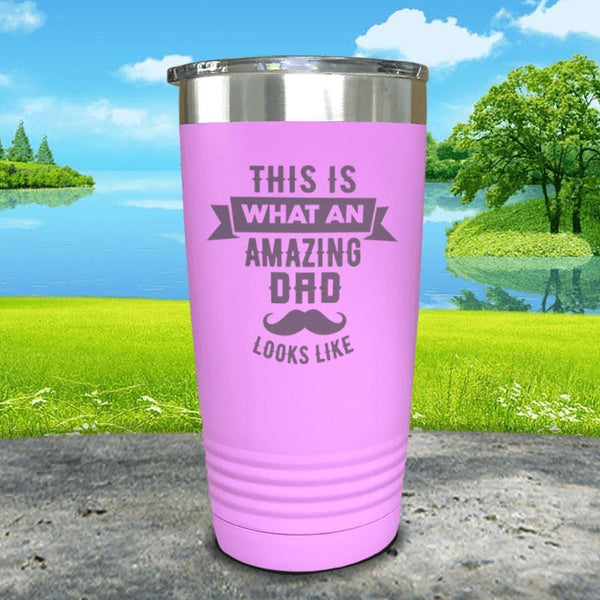 This Is What An Amazing Dad Looks Like Engraved Tumbler Tumbler ZLAZER 20oz Tumbler Lavender