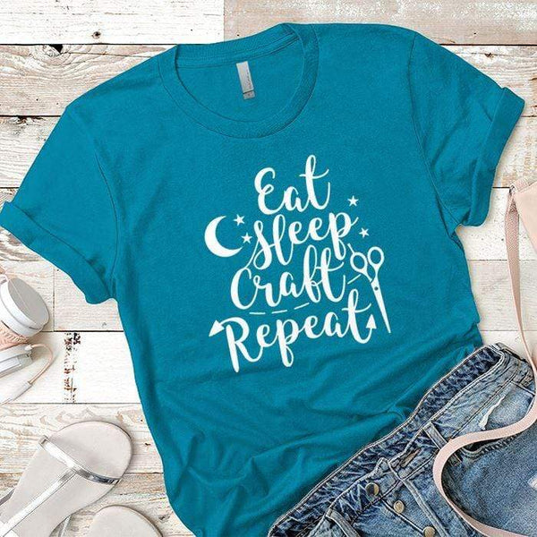 Eat Sleep Craft Premium Tees T-Shirts CustomCat Turquoise X-Small