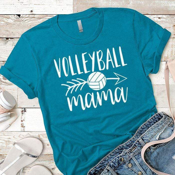 Volleyball Mama Premium Tees T-Shirts CustomCat Turquoise X-Small