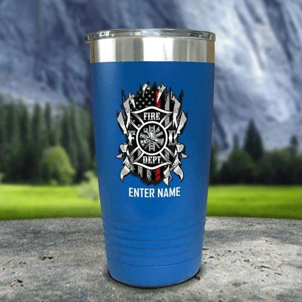 Personalized Firefighter Ripped Color Printed Tumblers Tumbler Nocturnal Coatings 20oz Tumbler Blue