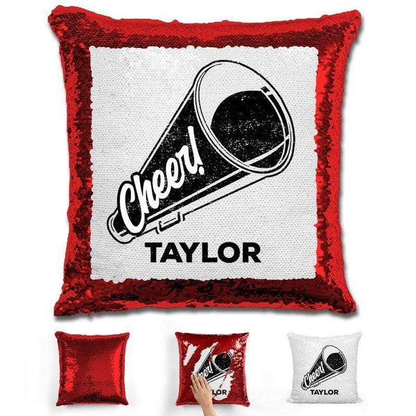 Cheerleader Personalized Magic Sequin Pillow Pillow GLAM Red Black