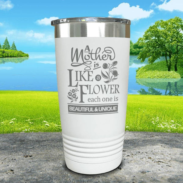 A Mother Is Like A Flower Engraved Tumbler Tumbler ZLAZER 20oz Tumbler White