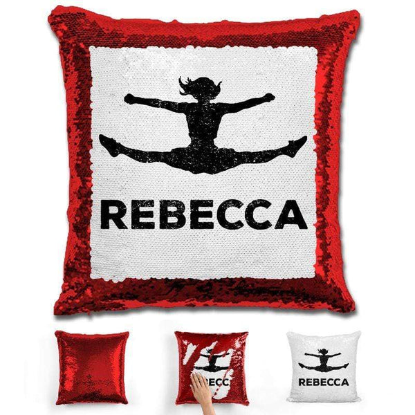 Competitive Cheerleader Personalized Magic Sequin Pillow Pillow GLAM Red Black