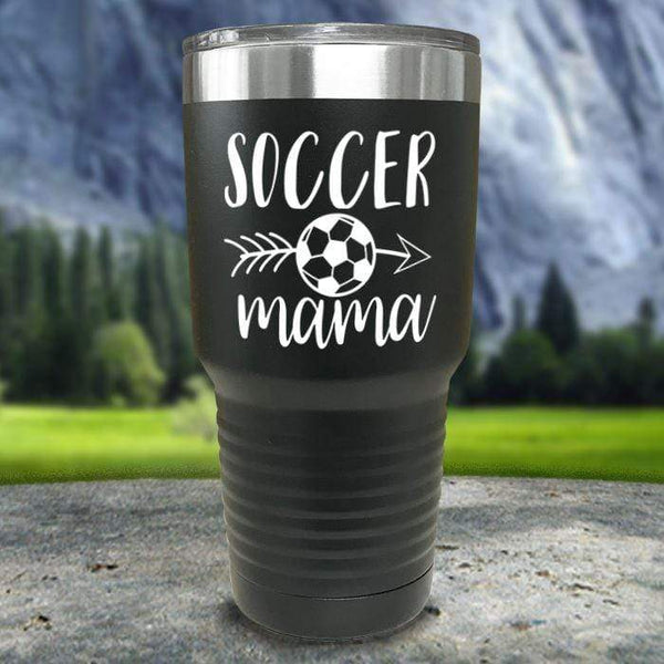 Soccer Mama Color Printed Tumblers Tumbler Nocturnal Coatings 30oz Tumbler Black