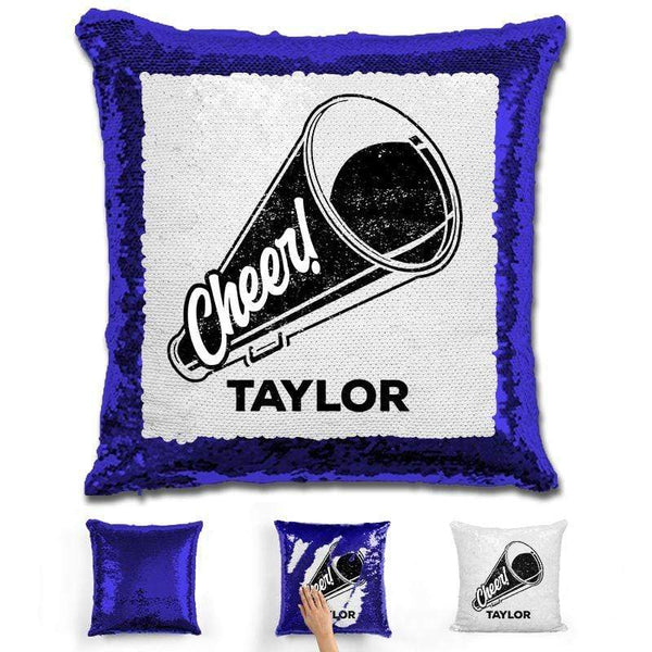 Cheerleader Personalized Magic Sequin Pillow Pillow GLAM Blue Black