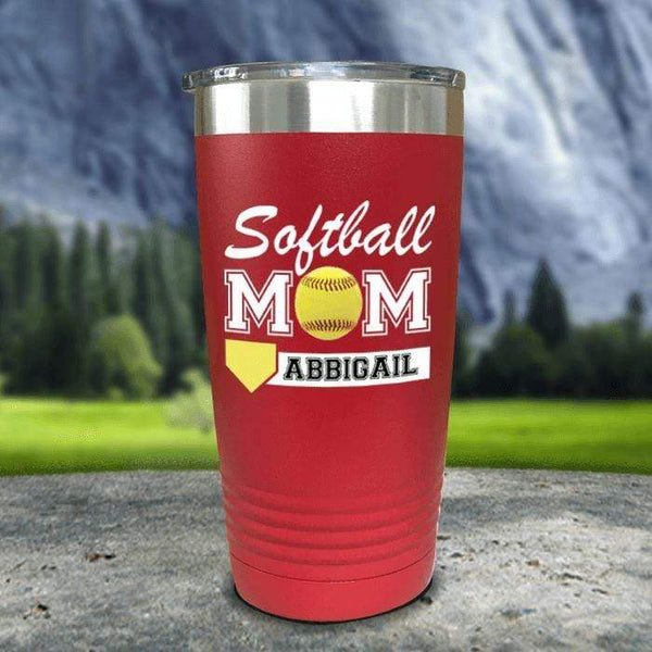 Personalized Softball Mom Color Printed Tumblers Tumbler Nocturnal Coatings 20oz Tumbler Red