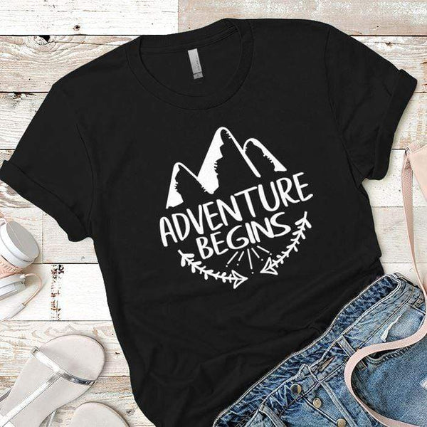Adventure Begins Premium Tees T-Shirts CustomCat Black X-Small