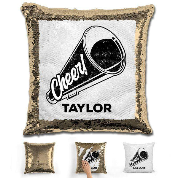 Cheerleader Personalized Magic Sequin Pillow Pillow GLAM Gold Black