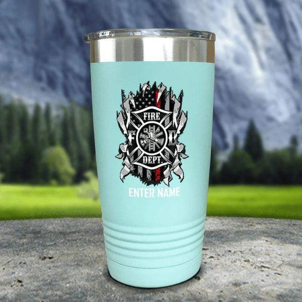 Personalized Firefighter Ripped Color Printed Tumblers Tumbler Nocturnal Coatings 20oz Tumbler Mint