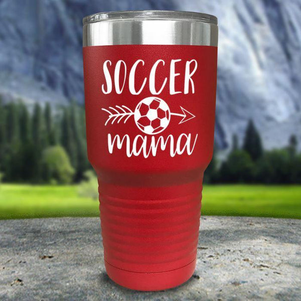 Soccer Mama Color Printed Tumblers Tumbler Nocturnal Coatings 30oz Tumbler Red