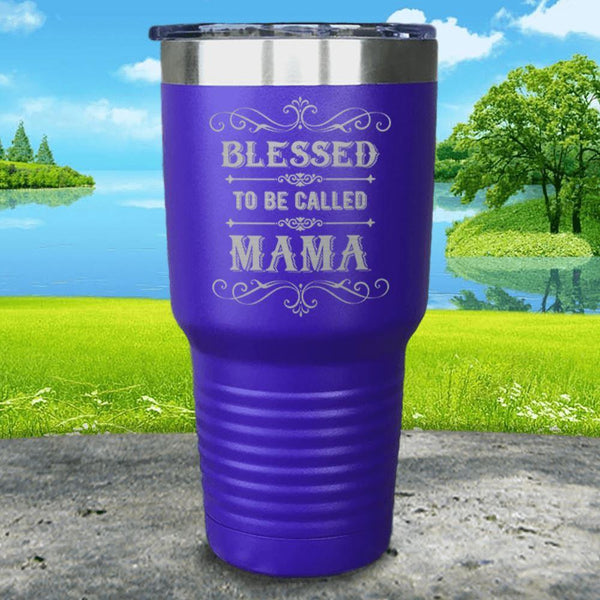 Blessed To Be Called Mama Engraved Tumbler Tumbler ZLAZER 30oz Tumbler Royal Purple