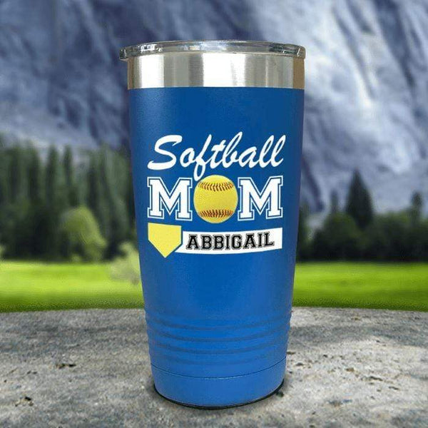 Personalized Softball Mom Color Printed Tumblers Tumbler Nocturnal Coatings 20oz Tumbler Blue