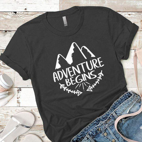 Adventure Begins Premium Tees T-Shirts CustomCat Heavy Metal X-Small