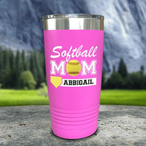 Personalized Softball Mom Color Printed Tumblers Tumbler Nocturnal Coatings 20oz Tumbler Pink