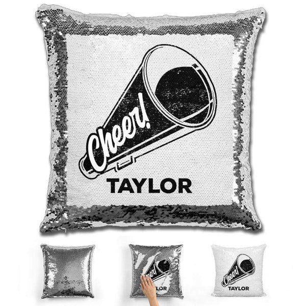 Cheerleader Personalized Magic Sequin Pillow Pillow GLAM Silver Black
