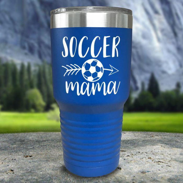 Soccer Mama Color Printed Tumblers Tumbler Nocturnal Coatings 30oz Tumbler Blue